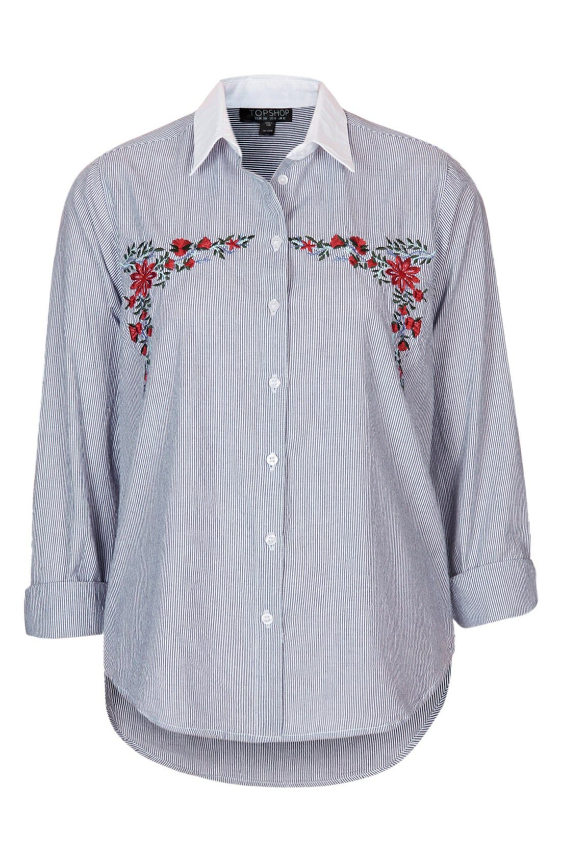 Alternate Image 3  - Topshop Embroidered Cotton Shirt