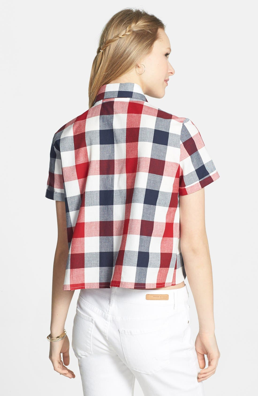 Alternate Image 2  - Haute Society Short Sleeve Crop Plaid Shirt (Juniors)