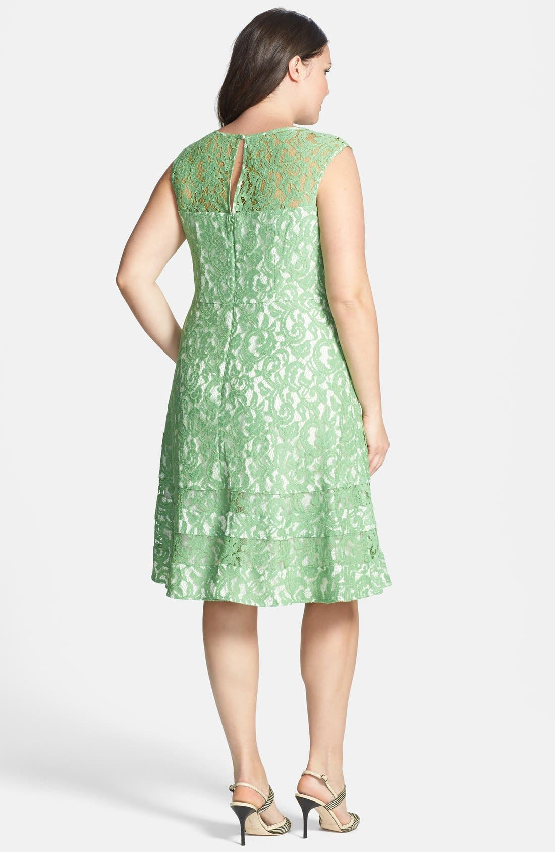 Alternate Image 2  - Adrianna Papell Cutaway Sleeve Lace Shift Dress (Plus Size)