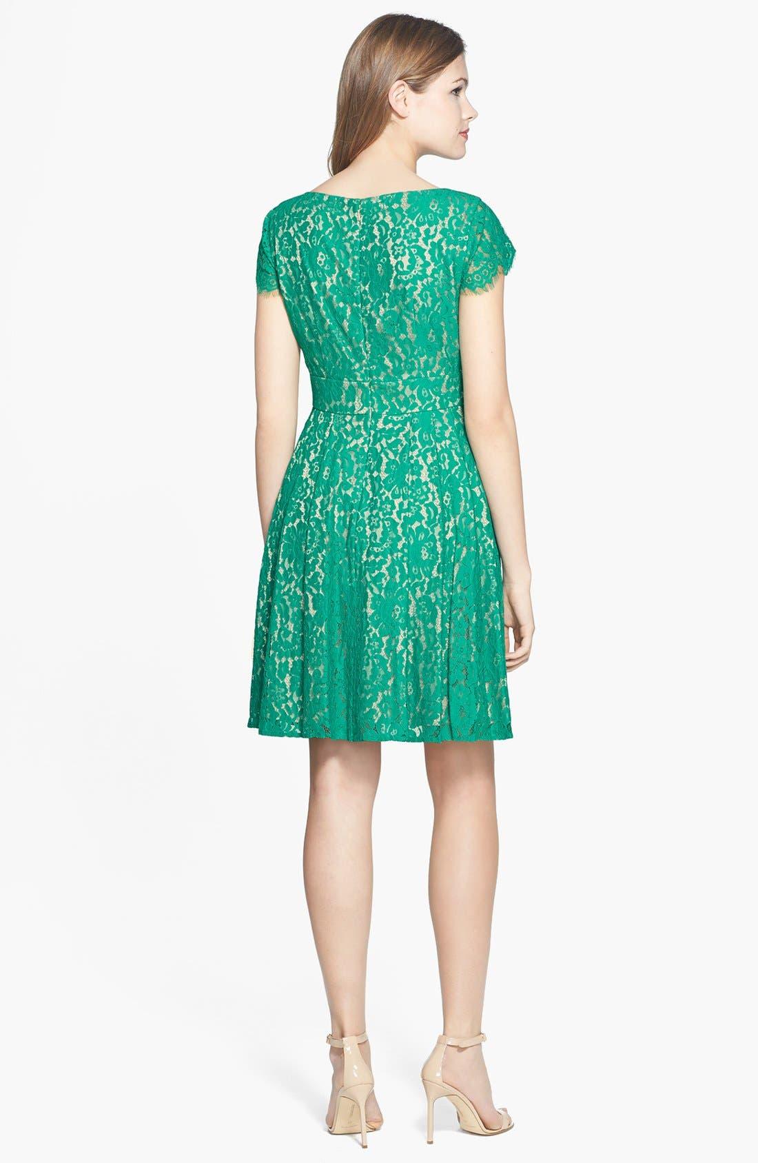 Alternate Image 2  - Eliza J Short Sleeve Lace Fit & Flare Dress
