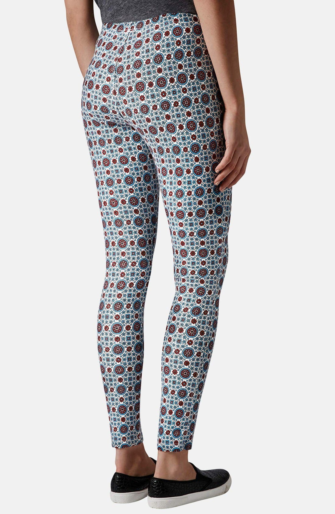 Alternate Image 2  - Topshop Print Denim Leggings