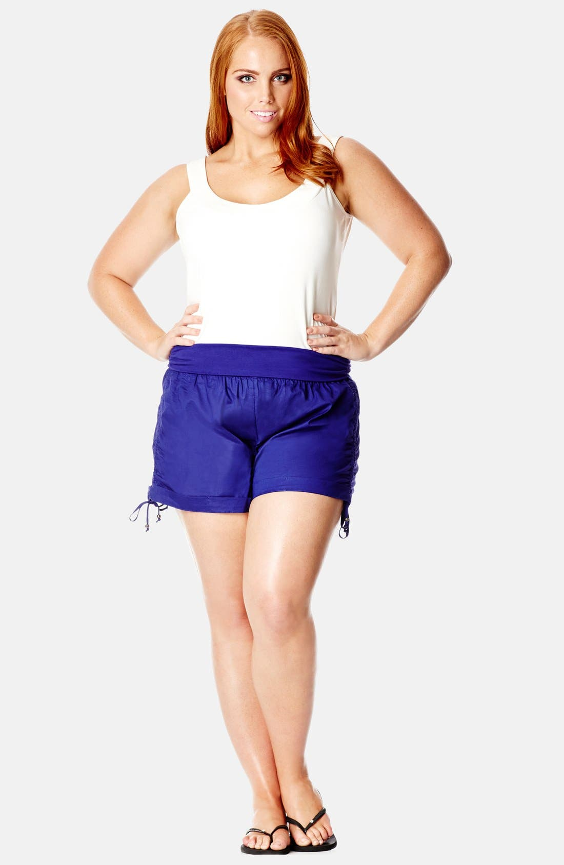 Main Image - City Chic Roll Waist Ruched Shorts (Plus Size)
