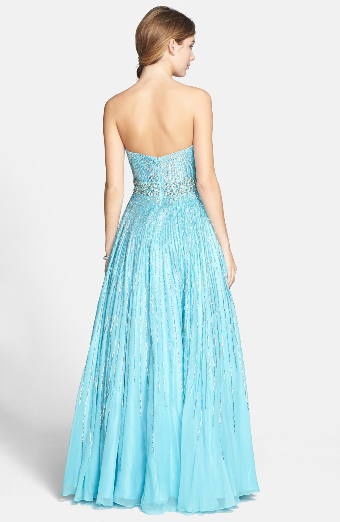 Alternate Image 2  - Sherri Hill Sequin Coated Strapless Chiffon Gown