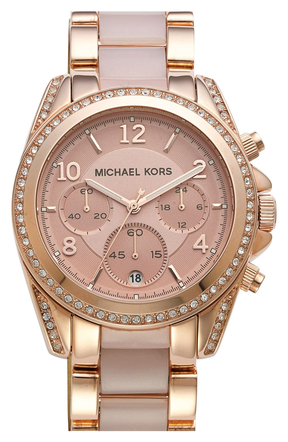 Alternate Image 1 Selected - Michael Kors 'Blair' Crystal Bezel Two-Tone Bracelet Watch, 39mm