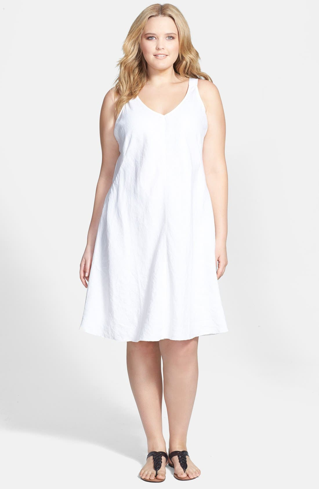 Alternate Image 1 Selected - Eileen Fisher V-Neck Bias Cut Organic Linen Dress (Plus Size)
