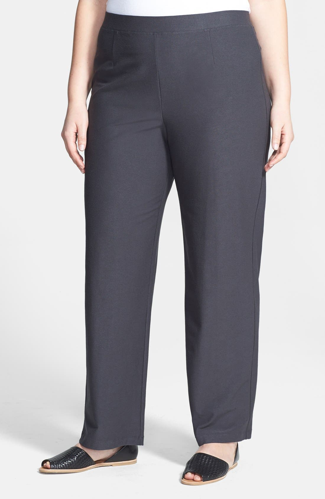Alternate Image 1 Selected - Eileen Fisher Straight Leg Pants (Plus Size)