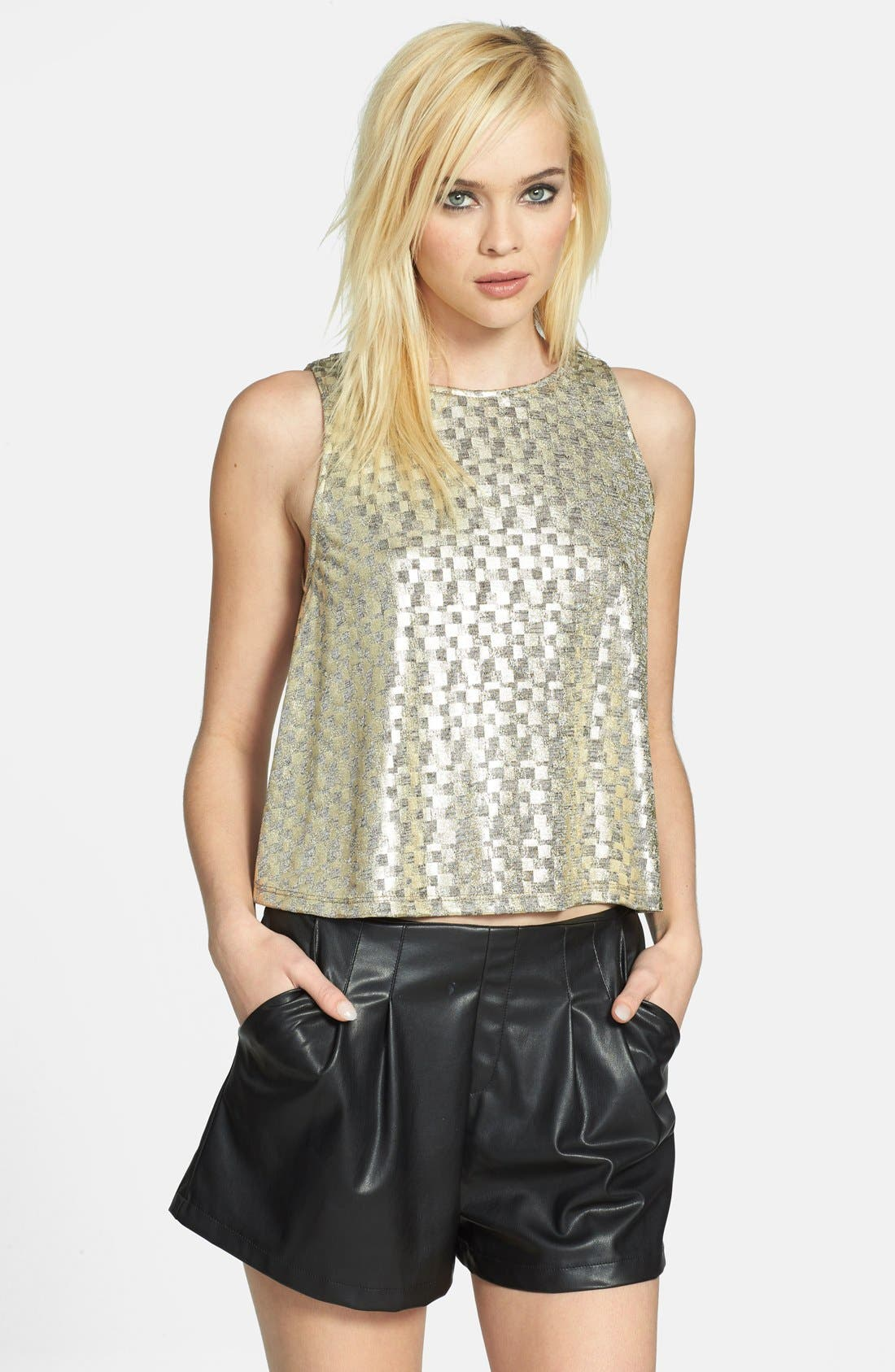 Alternate Image 1 Selected - June & Hudson Metallic Drape Back Tank