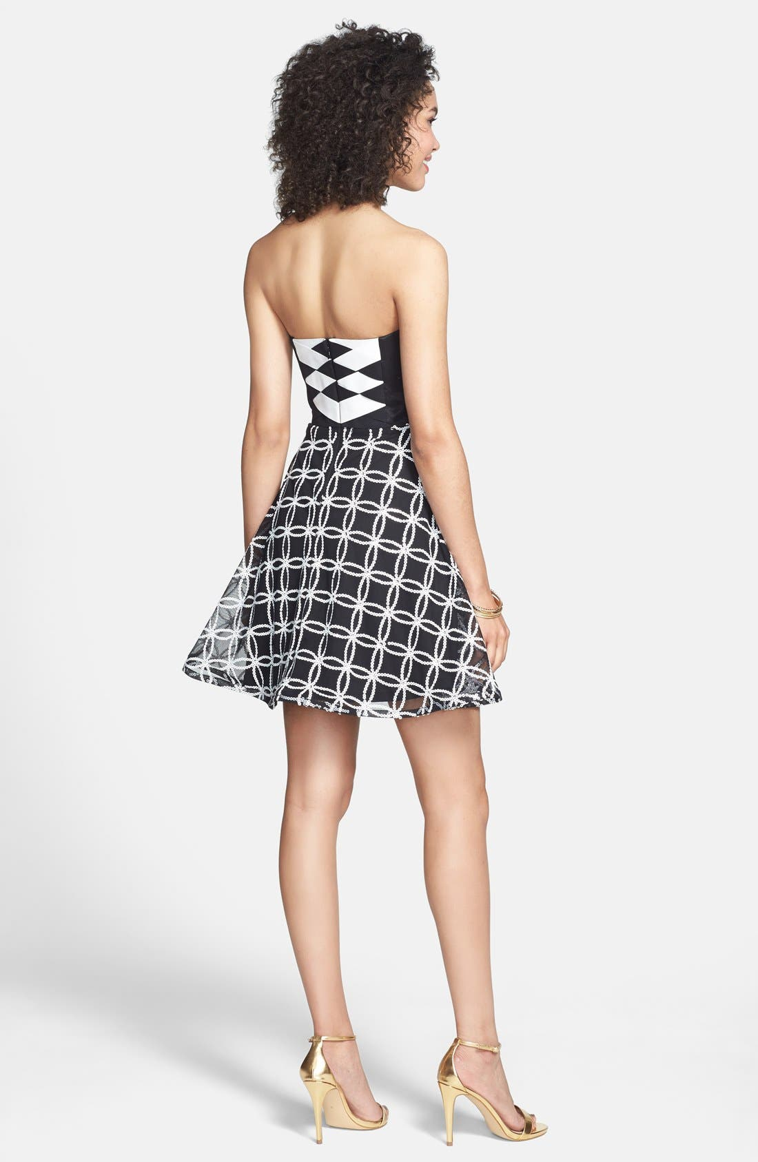 Alternate Image 2  - Hailey Logan Sequin Pattern Fit & Flare Dress (Juniors)