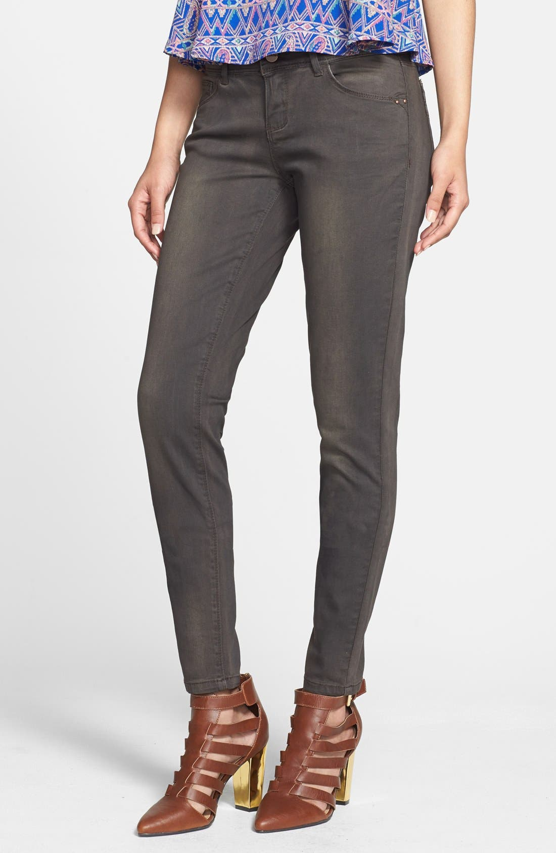 Alternate Image 1 Selected - HART Denim Overdyed Skinny Jeans (Brown) (Juniors)