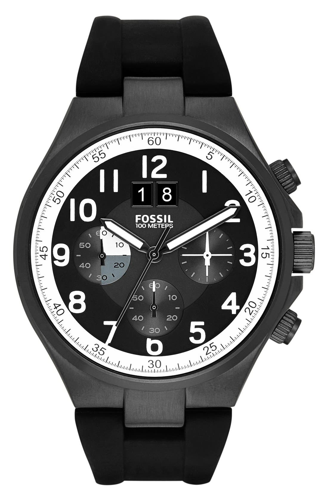 Alternate Image 1 Selected - Fossil 'Qualifier' Chronograph Silicone Strap Watch, 46mm