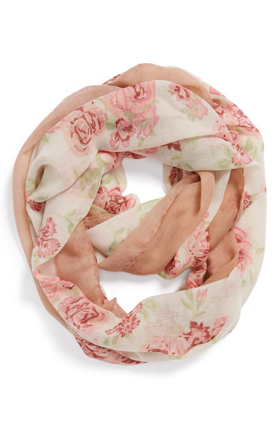 Alternate Image 1 Selected - David & Young 'Rose' Floral Infinity Scarf (Juniors)