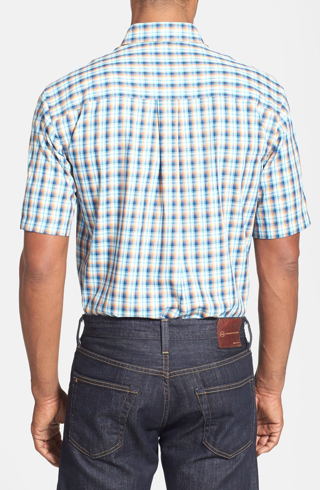 Alternate Image 2  - Cutter & Buck 'Morton Road' Classic Fit Short Sleeve Plaid Sport Shirt (Big & Tall)