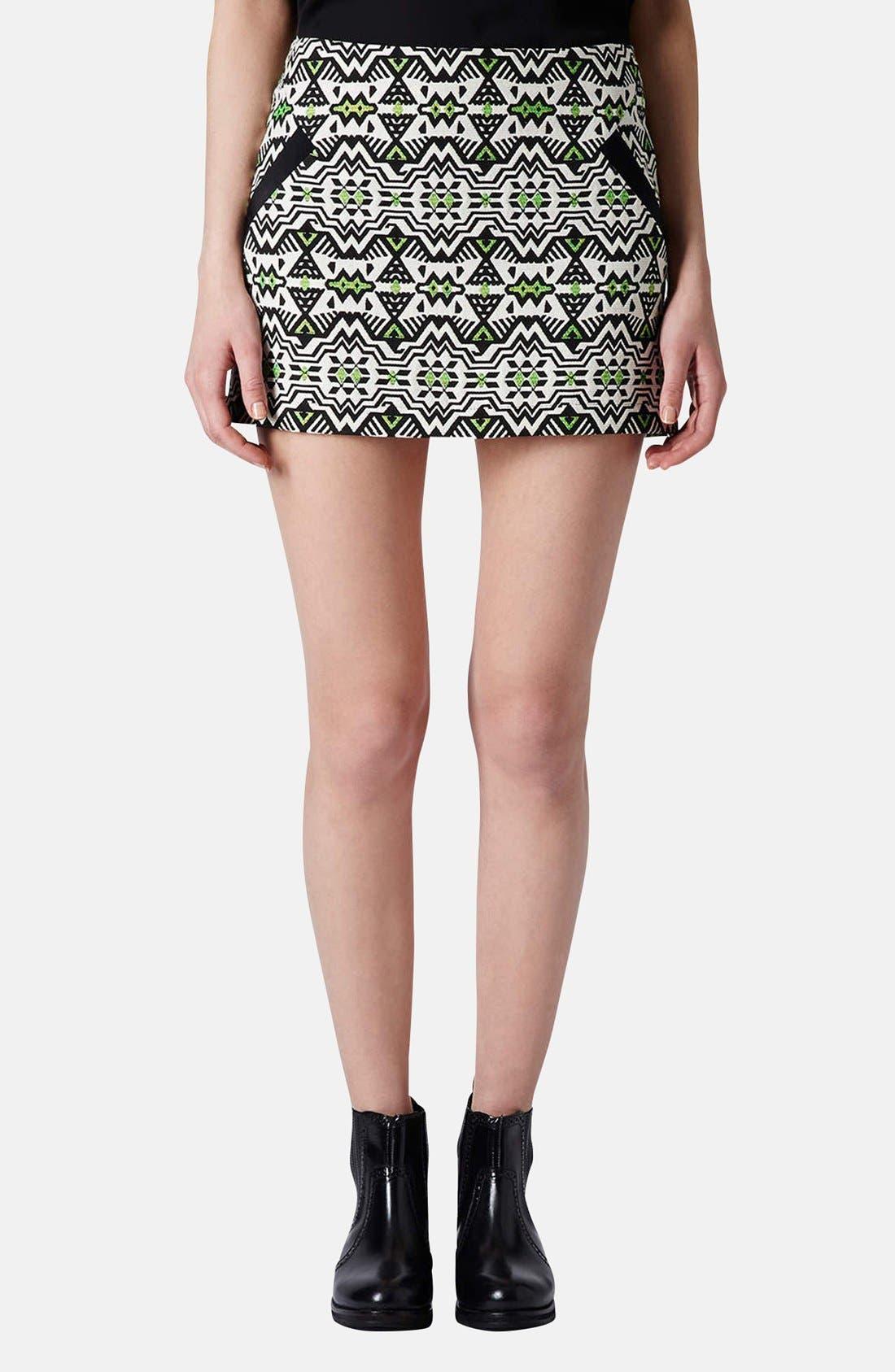 Main Image - Topshop Geo Jacquard Miniskirt