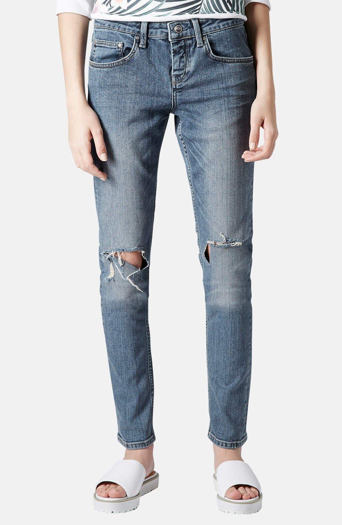 Main Image - Topshop Moto 'Rita' Distressed Skinny Jeans (Mid Denim) (Short)
