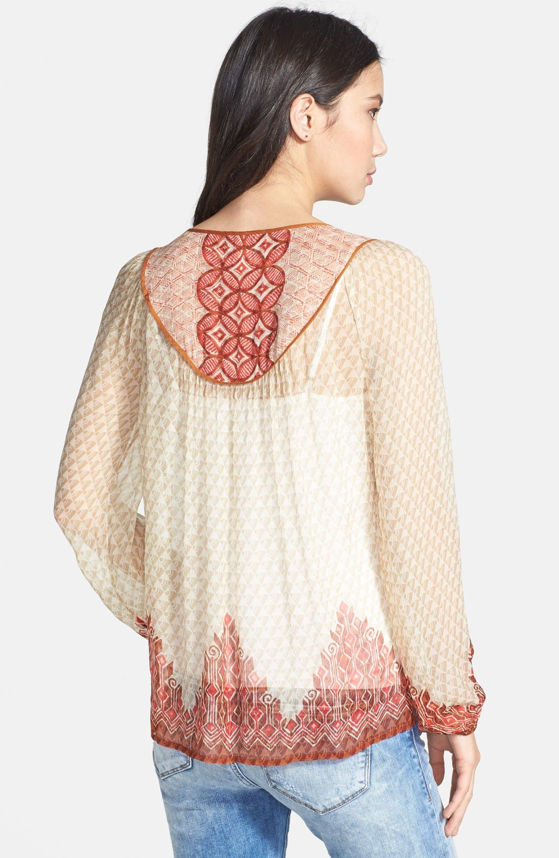 Alternate Image 2  - Lucky Brand 'Avalon' Deco Border Peasant Blouse