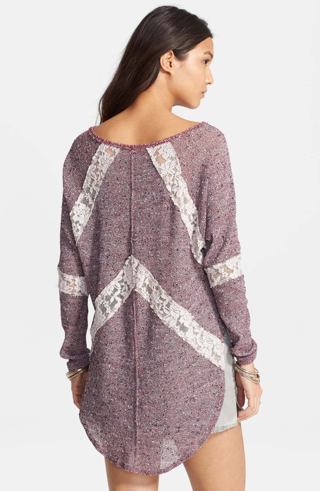 Alternate Image 2  - Free People 'Flying V' Lace Inset Pullover