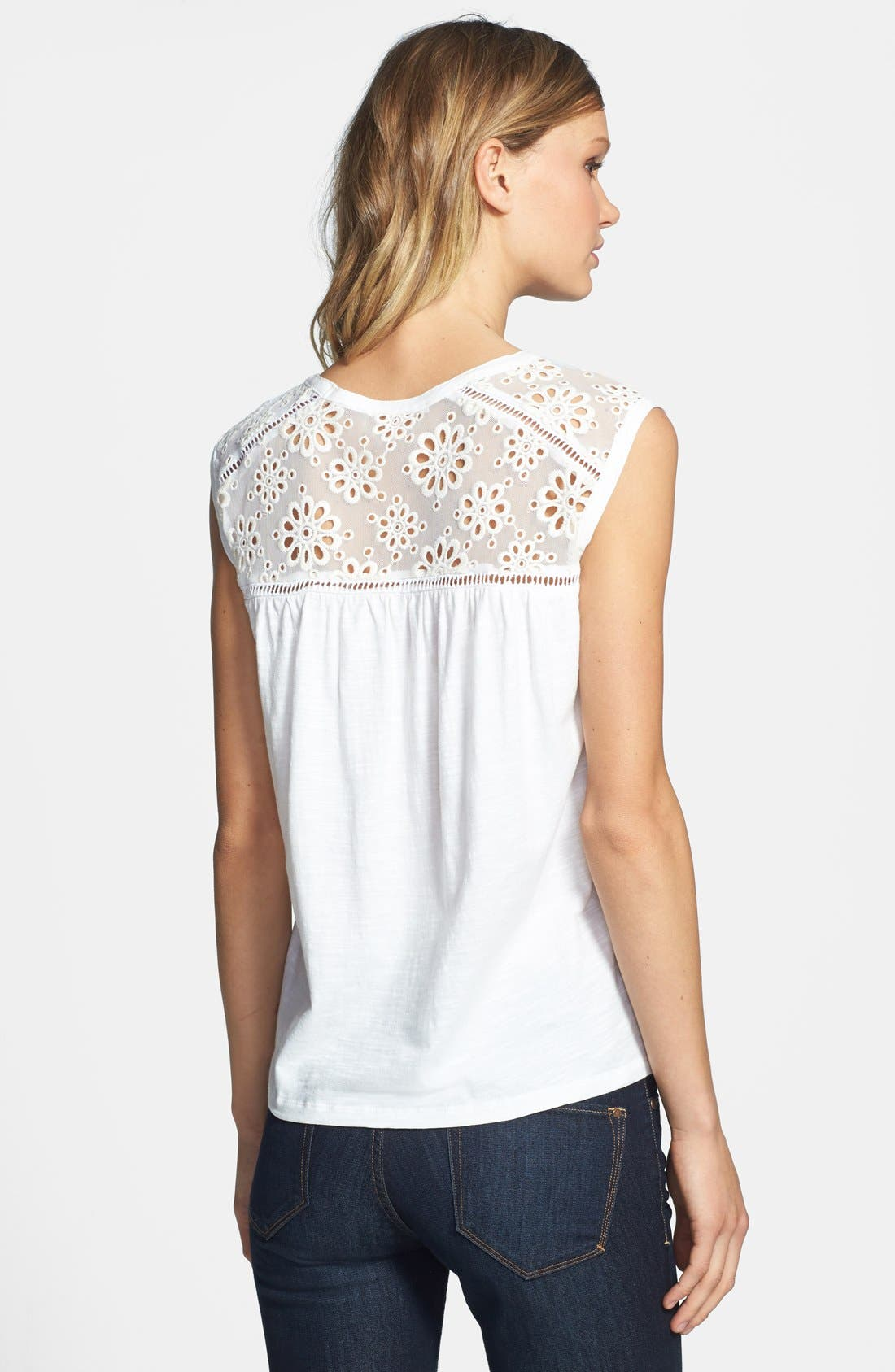 Alternate Image 2  - Two by Vince Camuto Eyelet Mesh Top