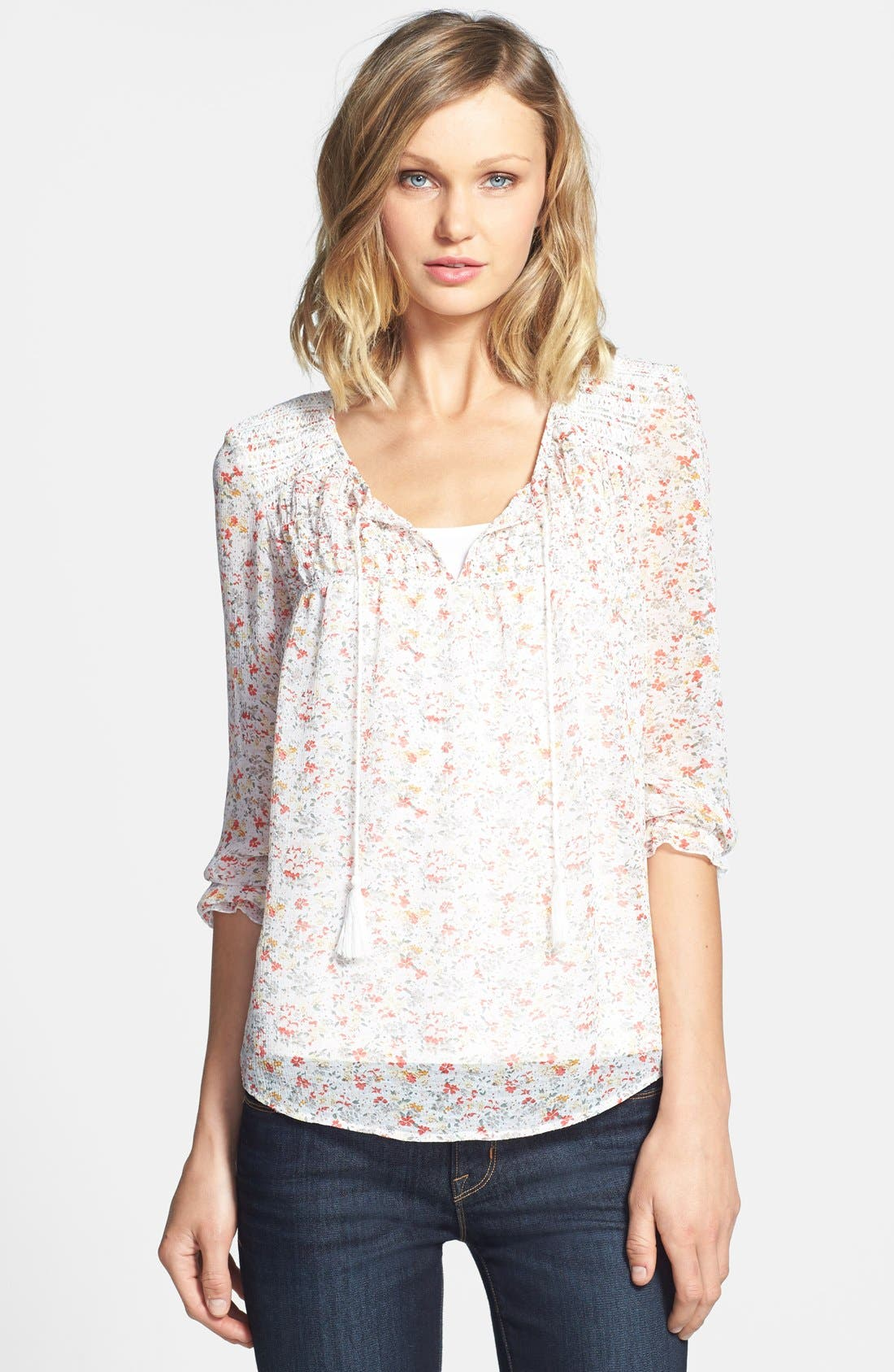 Alternate Image 1 Selected - Two by Vince Camuto 'Ditsy Floral' Tie Neck Blouse