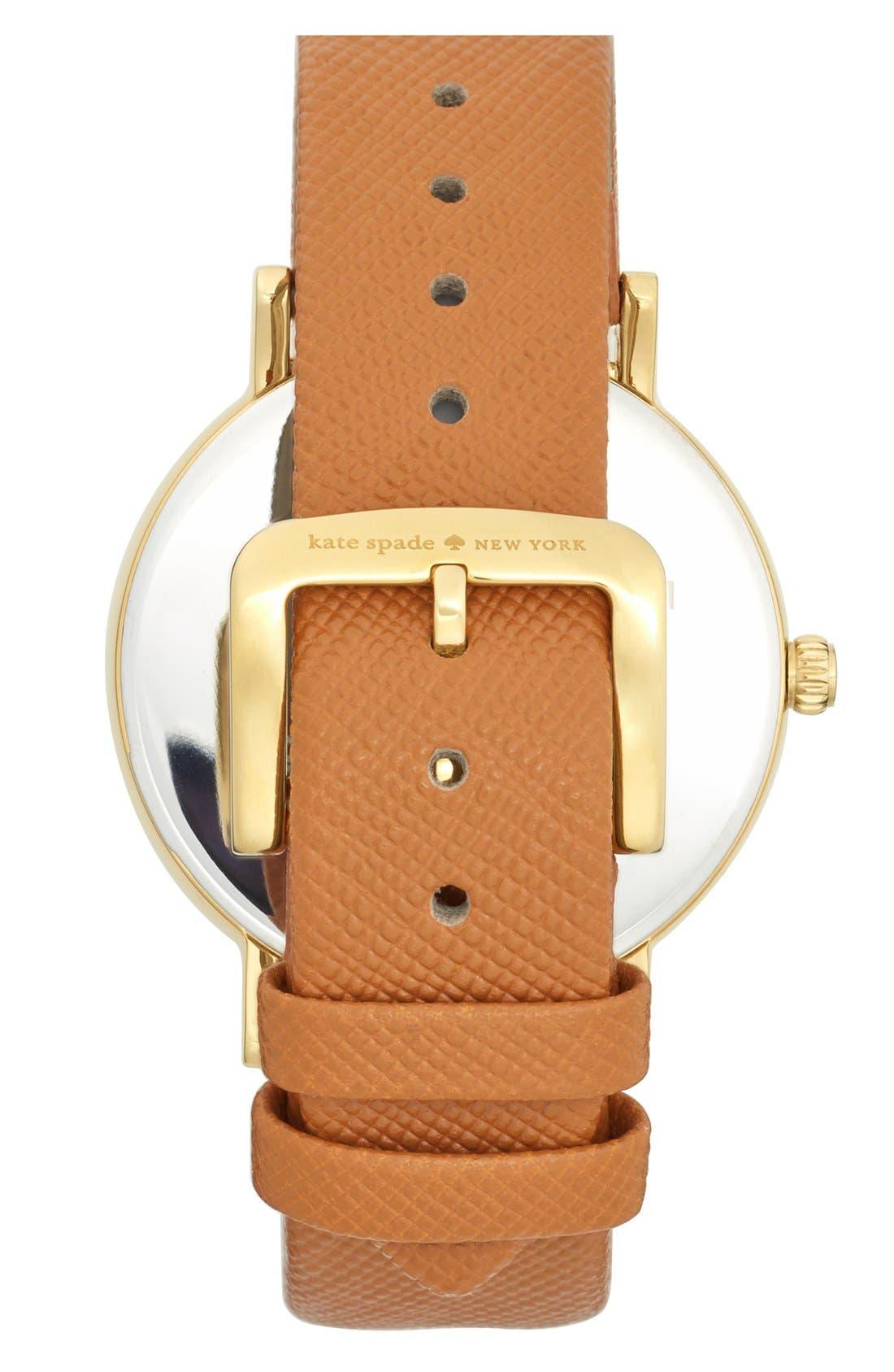 Alternate Image 2  - kate spade new york 'metro grand' round leather strap watch, 38mm