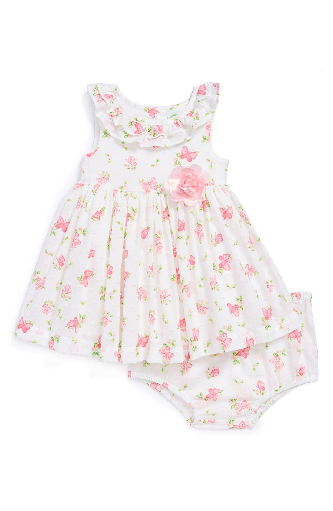 Alternate Image 1 Selected - Little Me 'Butterfly' Dress & Bloomers (Baby Girls)