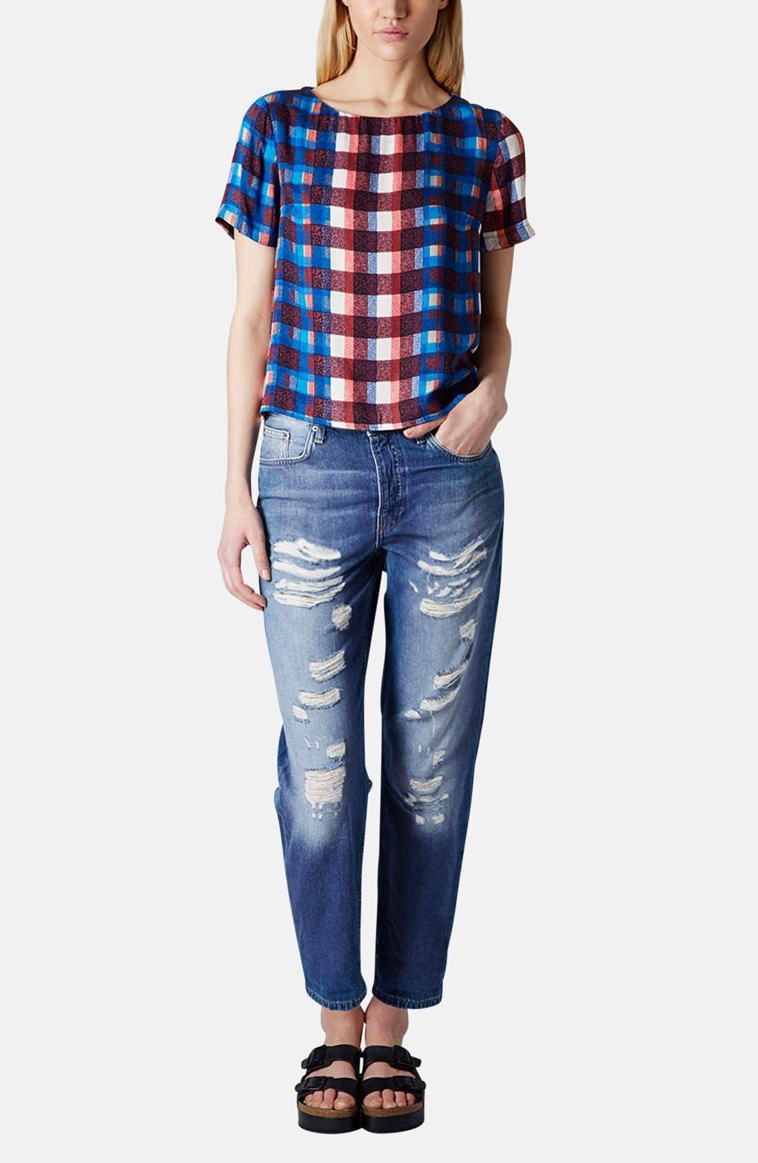 Alternate Image 5  - Topshop Moto 'Hayden' Destroyed Boyfriend Jeans (Mid Denim) (Regular & Short)