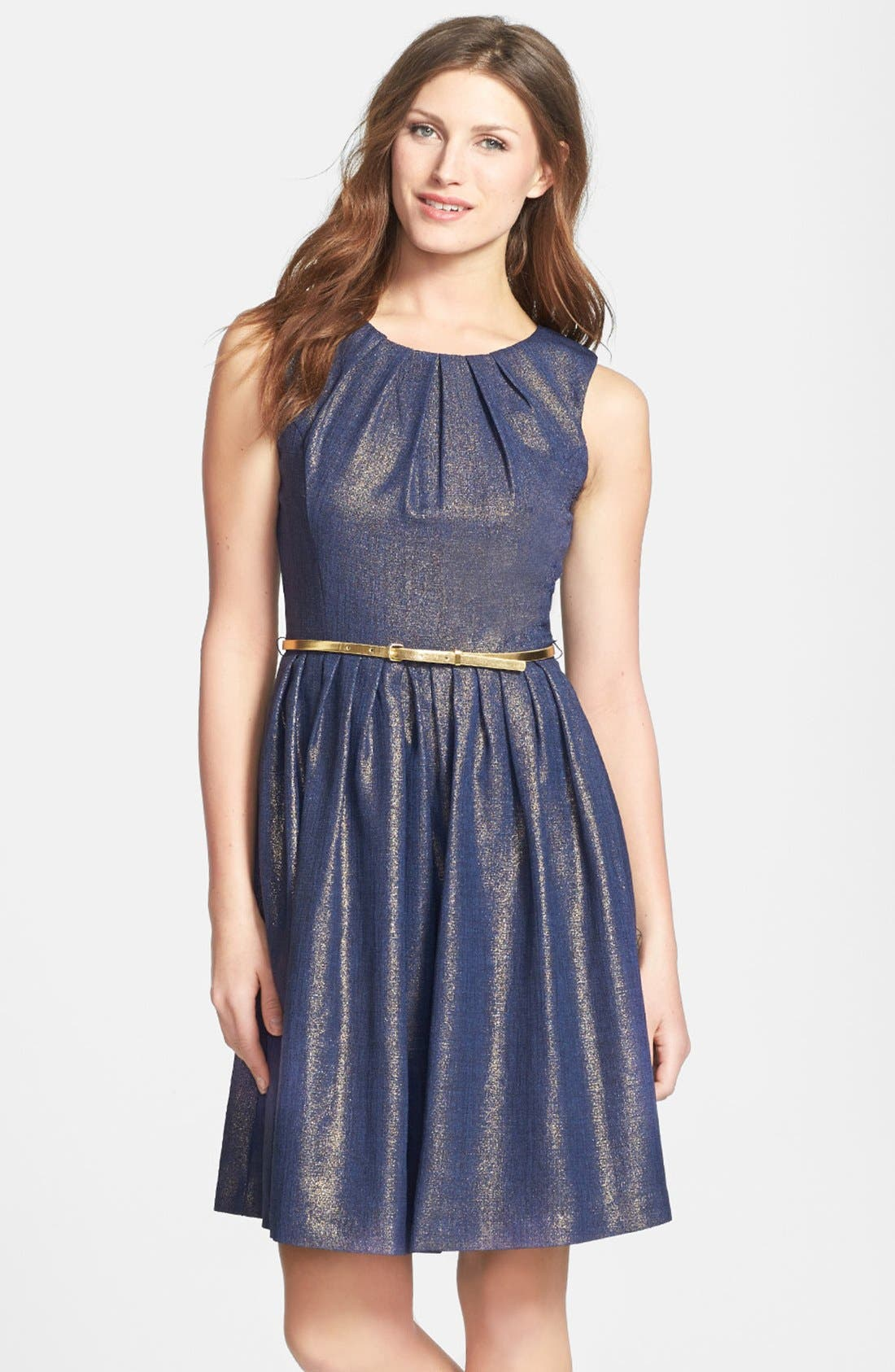Alternate Image 1 Selected - Ellen Tracy Metallic Sleeveless Dress (Regular & Petite)