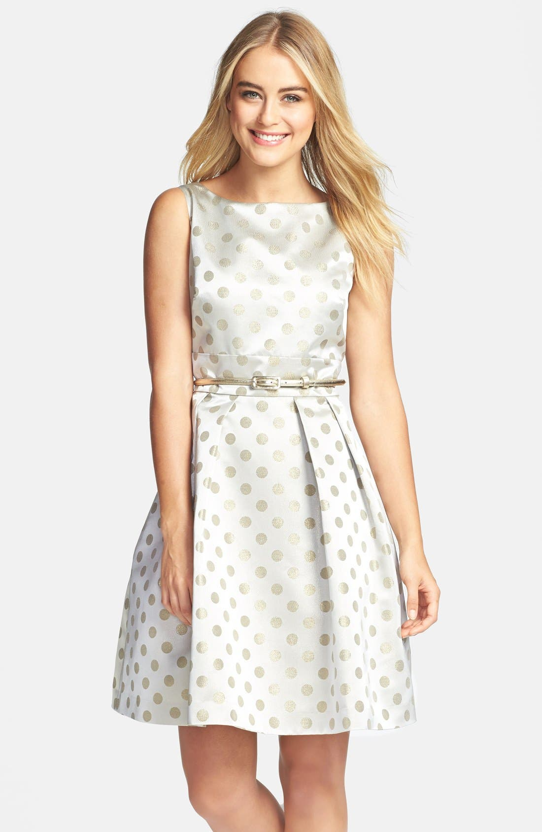 Main Image - Eliza J Polka Dot Jacquard Fit & Flare Dress