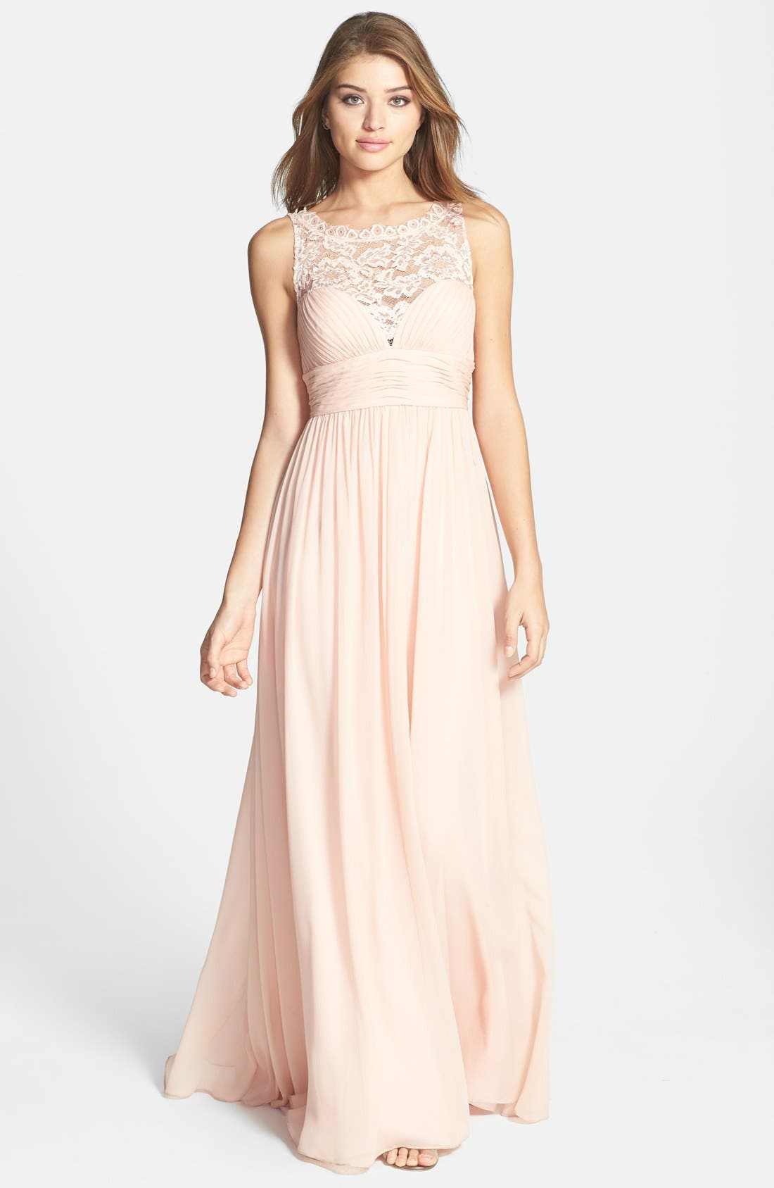 Main Image - Aidan Mattox Embellished Lace & Silk Chiffon Gown (Online Only)