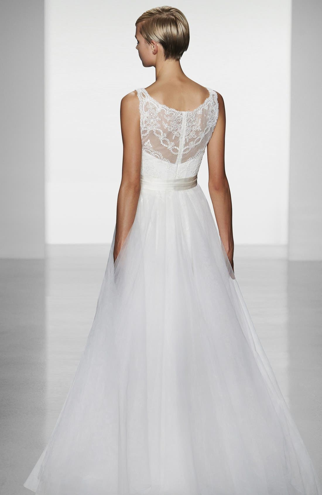 Alternate Image 5  - Amsale 'Quinn' French Lace Illusion Bodice Tulle Wedding Dress (In Stores Only)