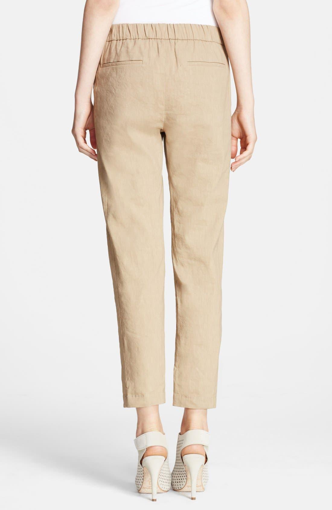 Alternate Image 2  - Theory 'Korene' Crop Linen Blend Pants
