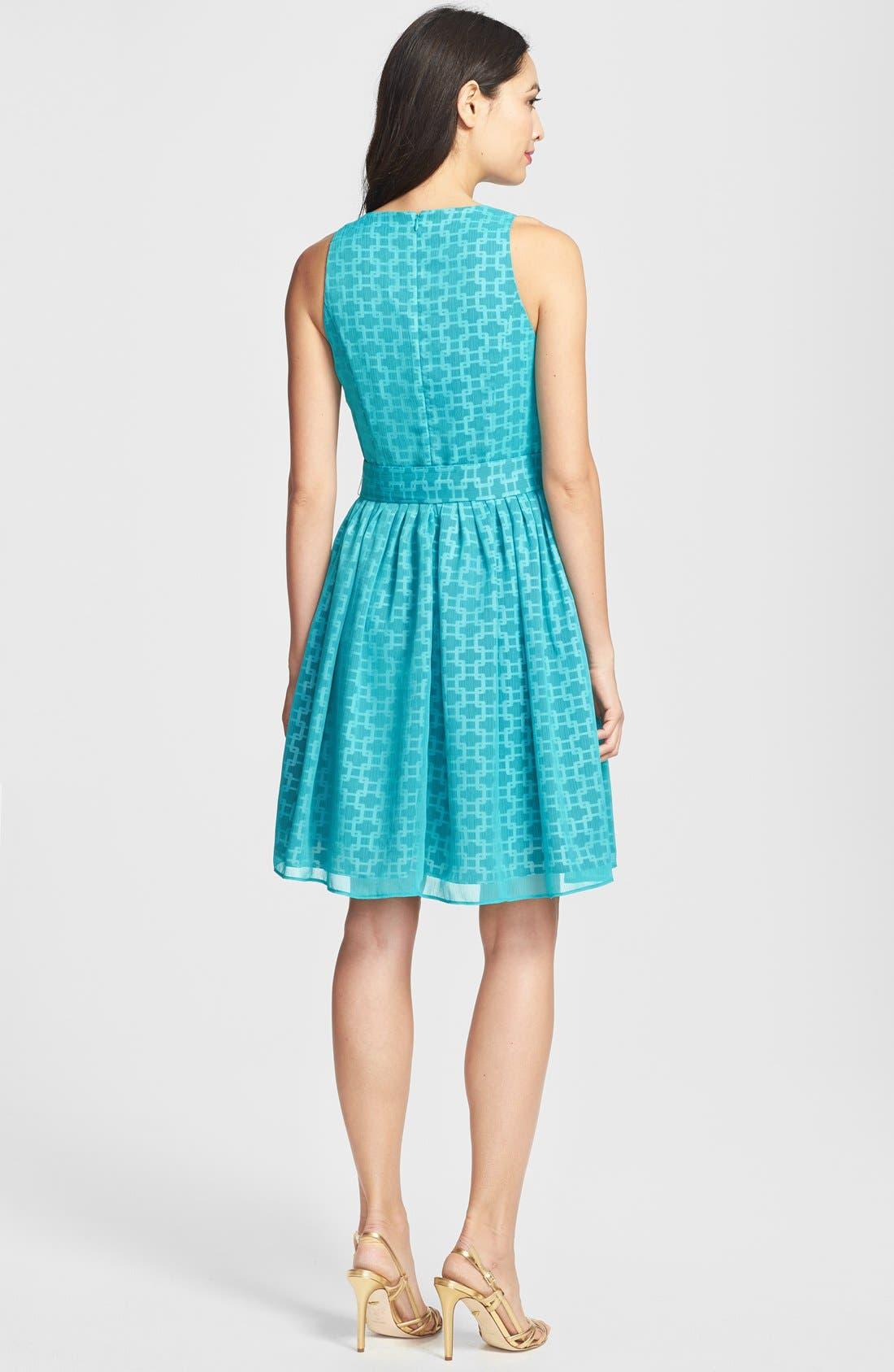 Alternate Image 2  - Isaac Mizrahi New York Print Chiffon Fit & Flare Dress (Petite)