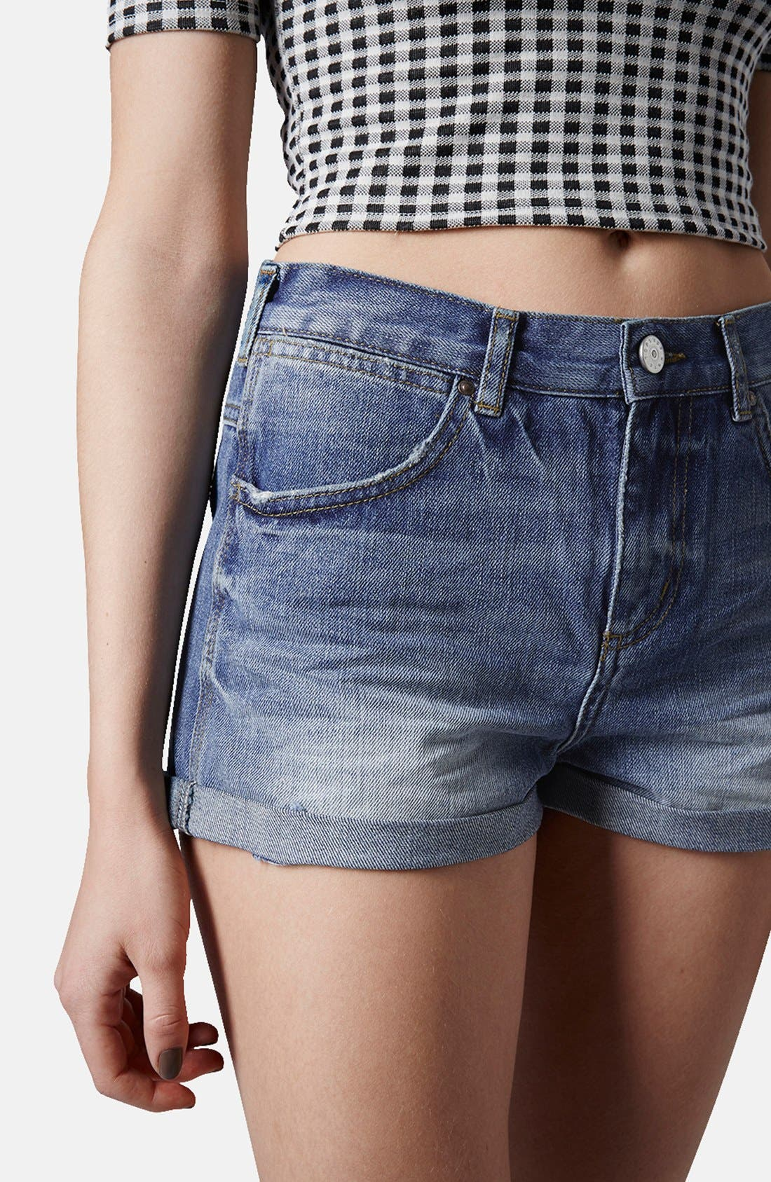Alternate Image 4  - Topshop 'Rosa' High Rise Denim Shorts (Mid) (Petite)