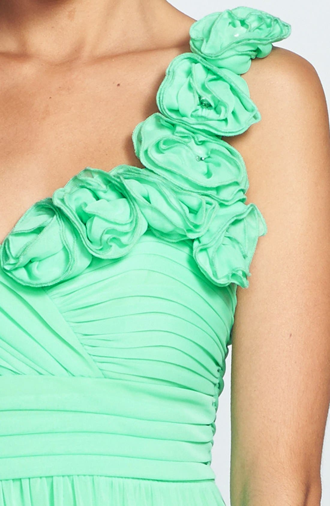 Alternate Image 3  - Way-In Rosette Strap One-Shoulder Gown (Juniors) (Online Only)