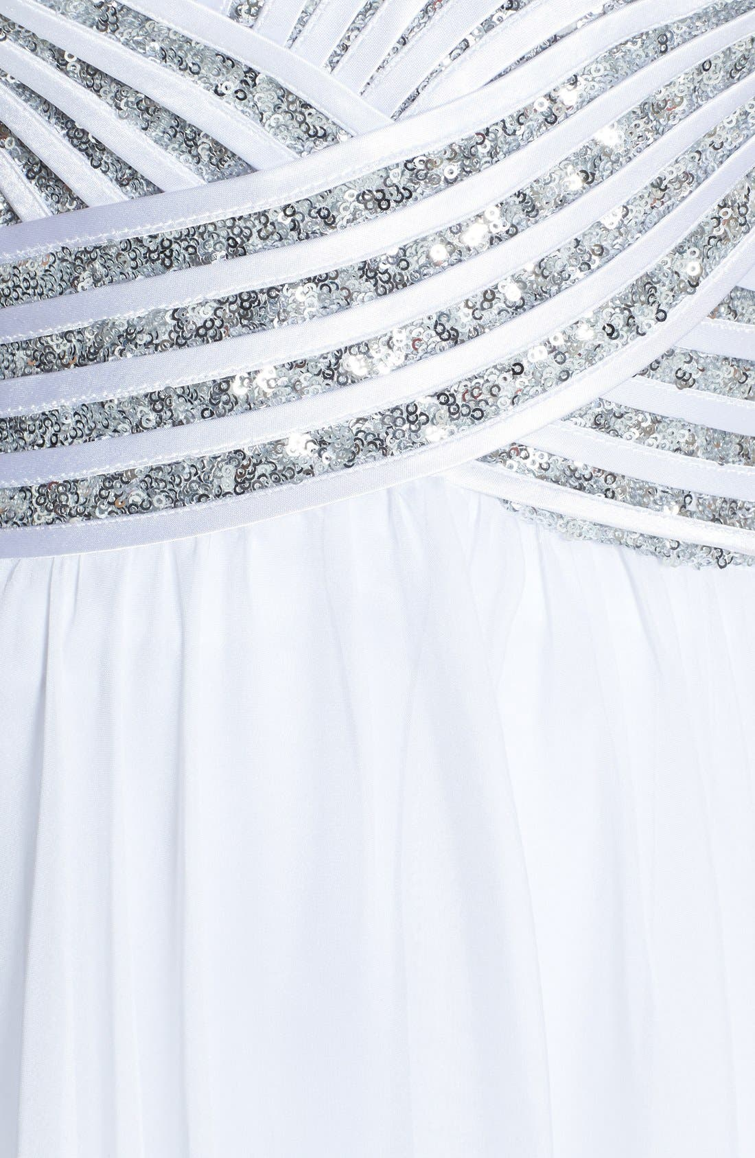 Alternate Image 3  - La Femme Embellished Bodice Chiffon Gown