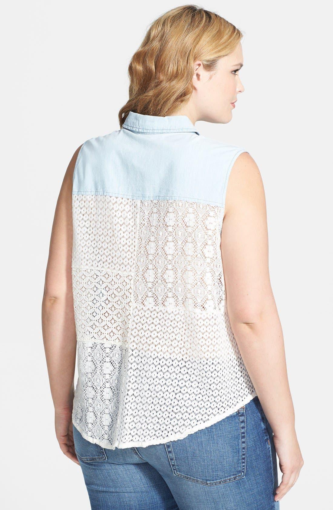 Alternate Image 2  - Jessica Simpson 'Soul' Sleeveless Tie Front Mixed Media Shirt (Plus Size)