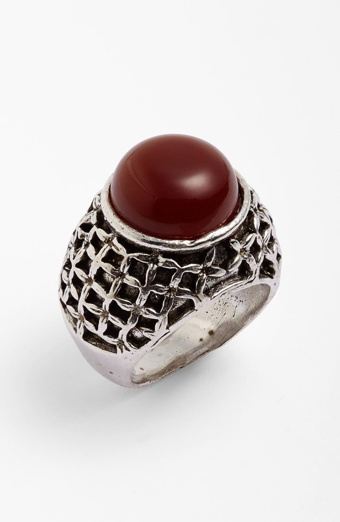 Main Image - Berry Round Stone Etched Ring