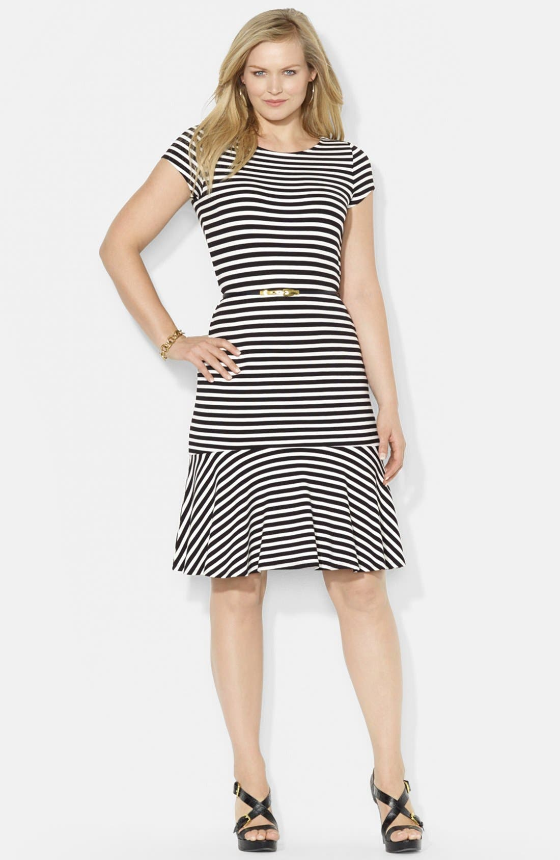 Main Image - Lauren Ralph Lauren Belted Stripe Jersey Dress (Plus Size)