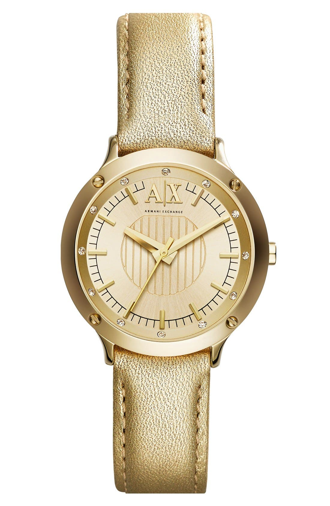 Alternate Image 1 Selected - AX Armani Exchange Round Leather Strap Watch, 30mm