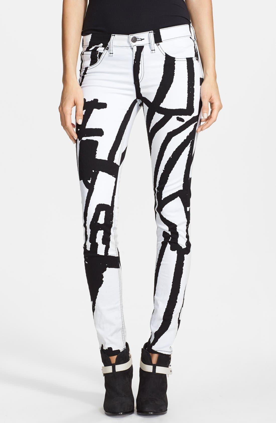 Main Image - rag & bone/JEAN 'The Legging' Graphic Print Skinny Jeans (White Robot)