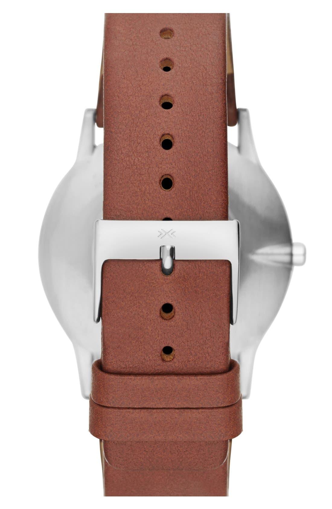 Alternate Image 2  - Skagen 'Theodore' Round Leather Strap Watch, 39mm