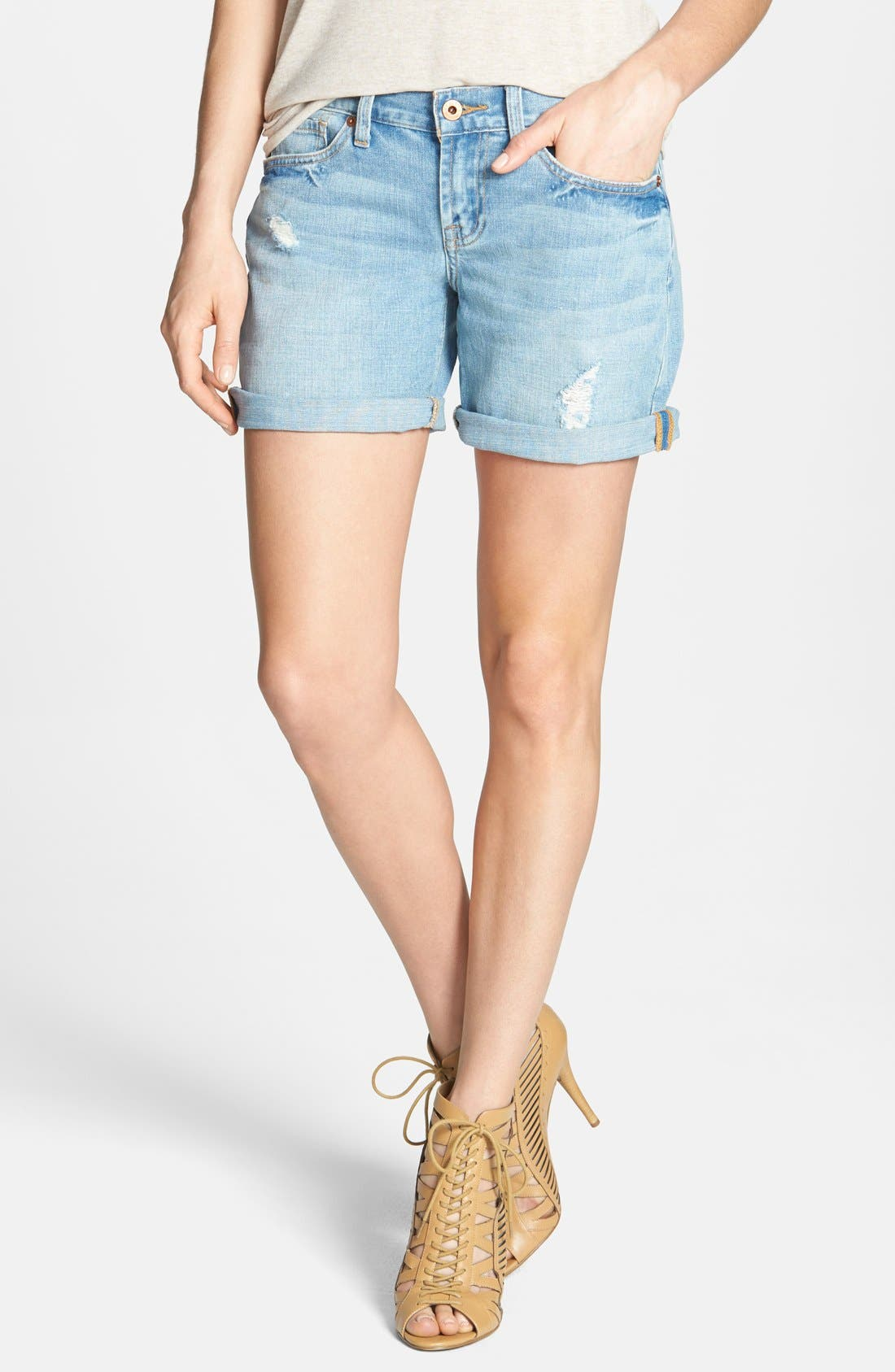 Main Image - Lucky Brand 'Laguna' Distressed Denim Shorts (Hudlow)