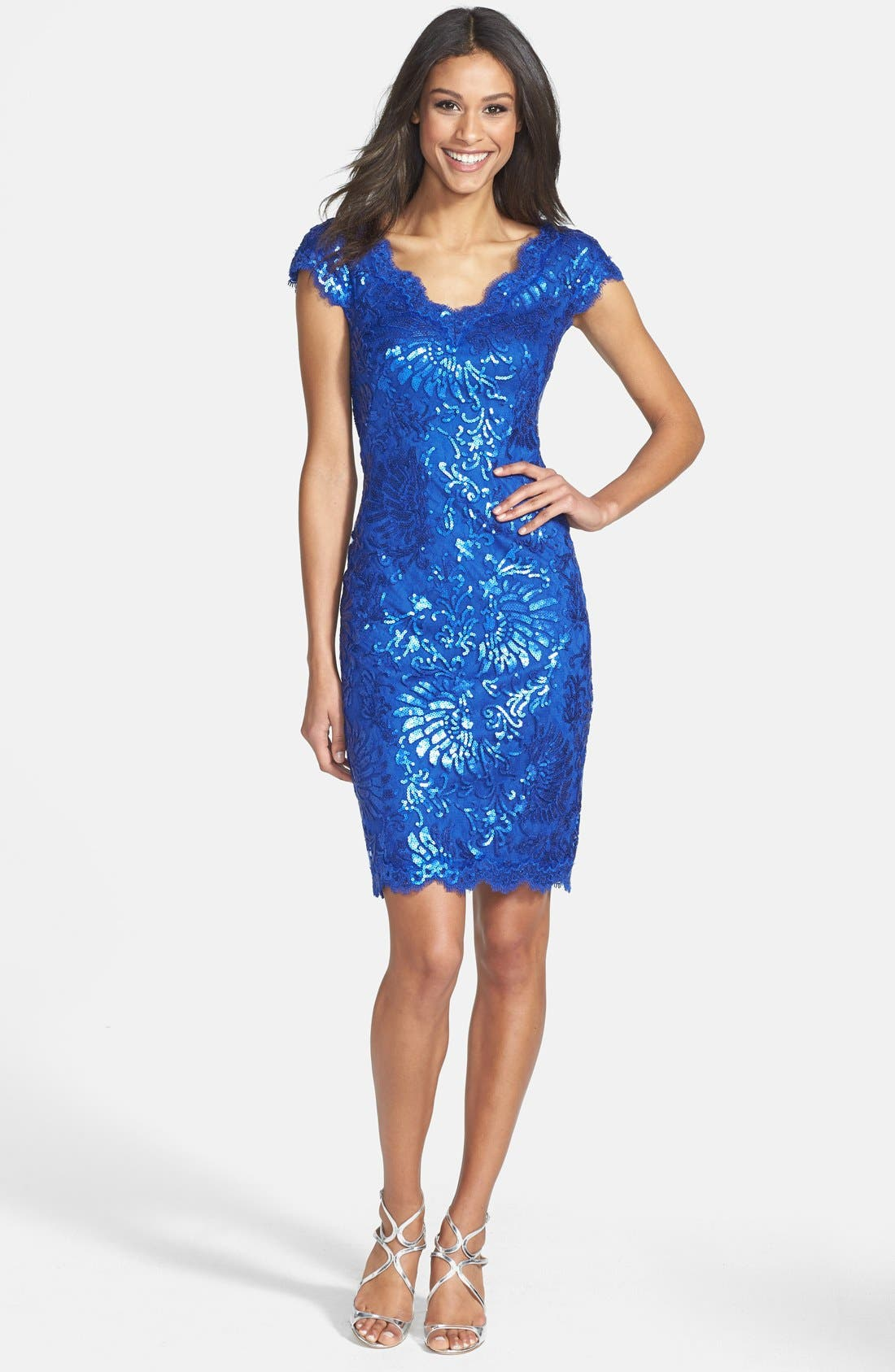 Alternate Image 3  - Tadashi Shoji Sequin Lace Sheath Dress