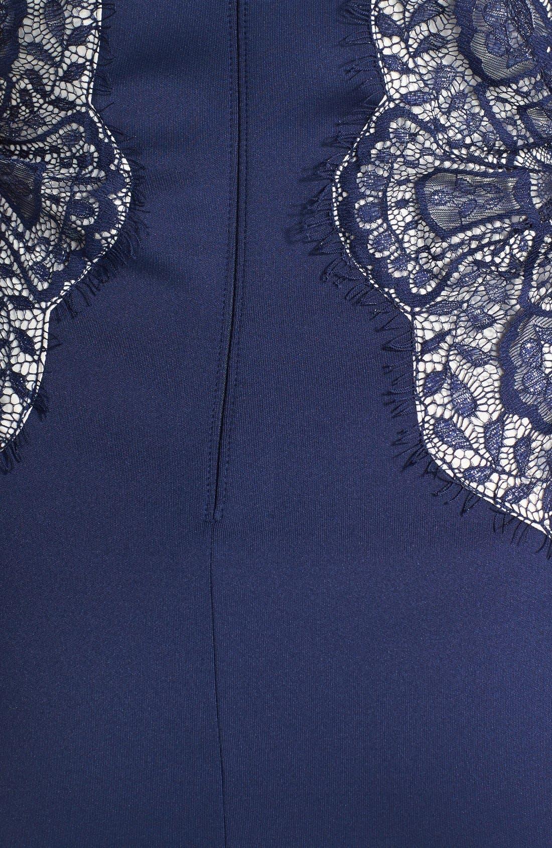 Alternate Image 4  - Tadashi Shoji Lace Inset Jersey Dress