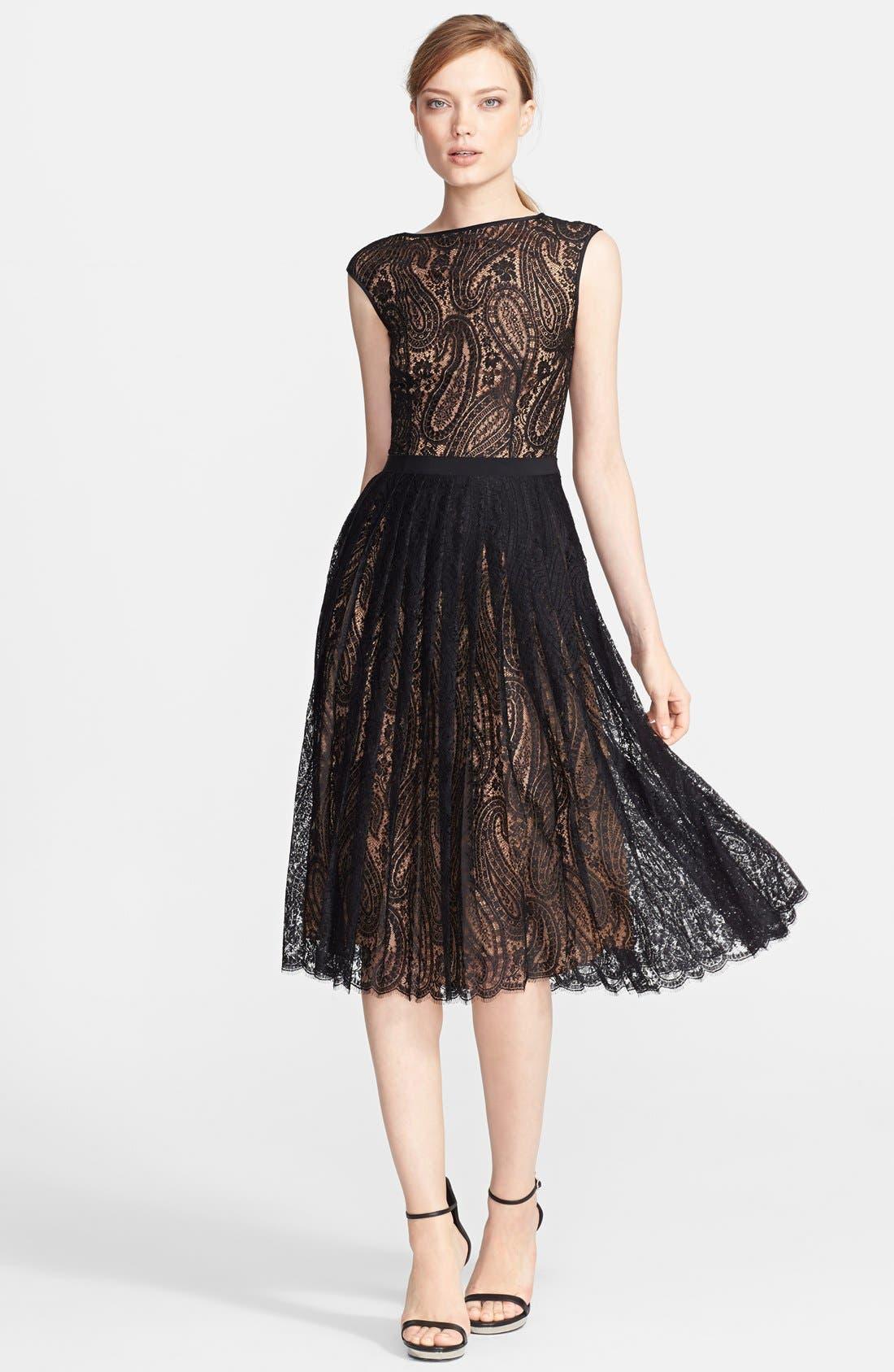 Alternate Image 1 Selected - Michael Kors Boatneck Paisley Lace Dress