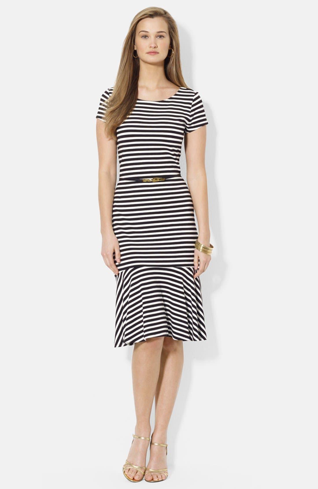 Main Image - Lauren Ralph Lauren Belted Stripe Stretch Jersey Dress