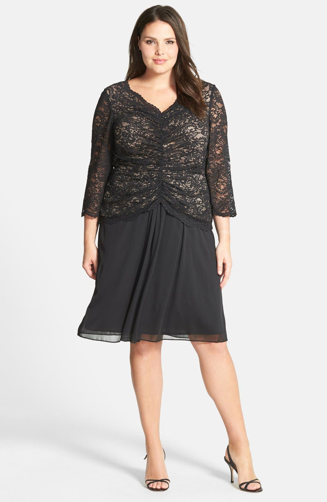 Alternate Image 1 Selected - Alex Evenings Shirred Lace Bodice Dress (Plus Size)