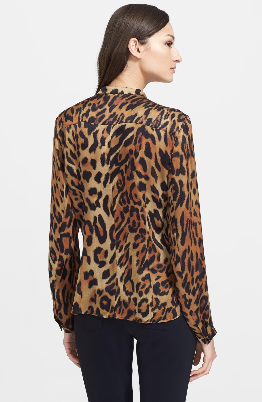 Alternate Image 2  - ESCADA Leopard Print Ruffled Silk Blouse