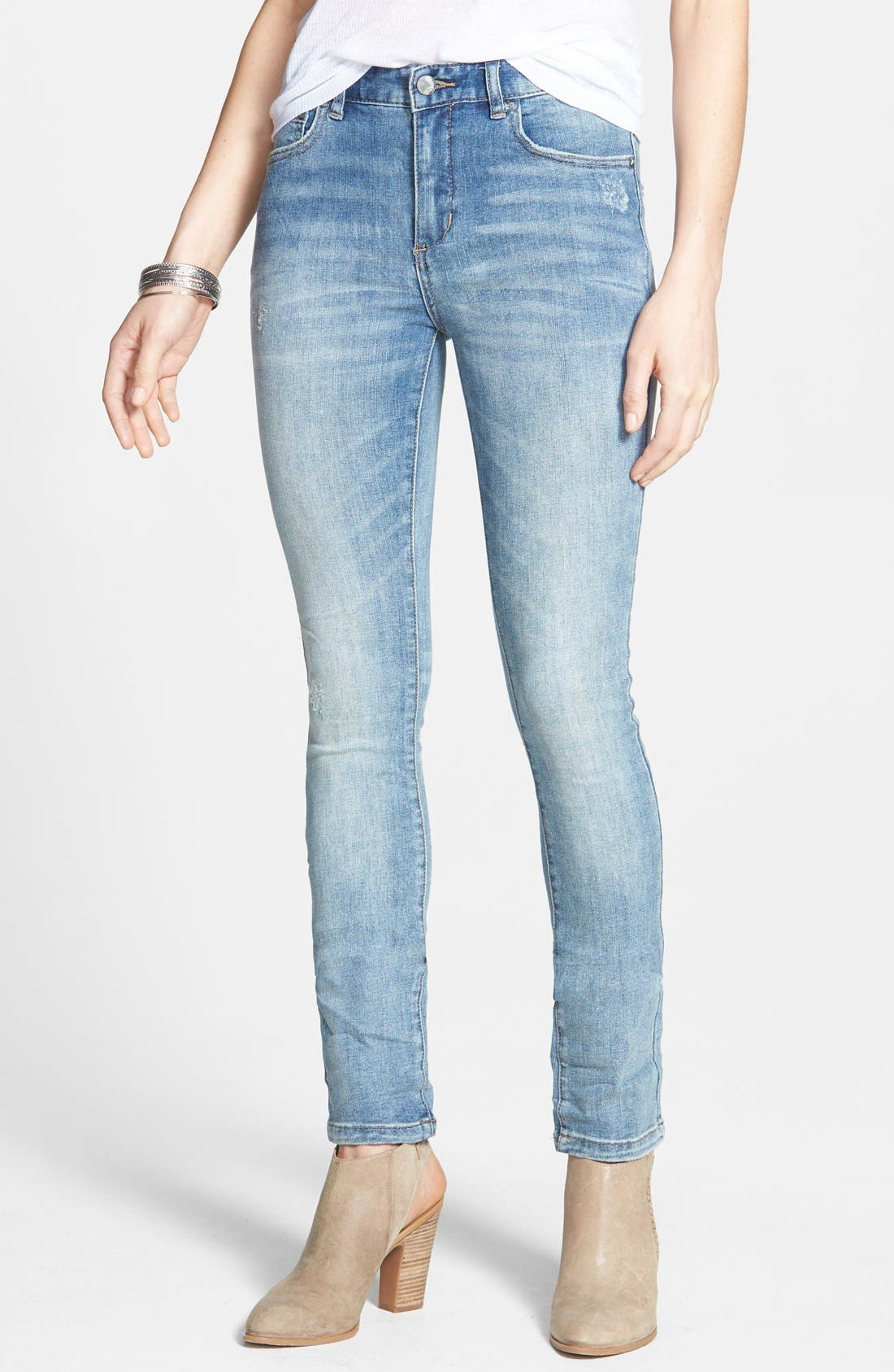 Alternate Image 1 Selected - Free People Stretch Denim Skinny Jeans (Boston Blue)