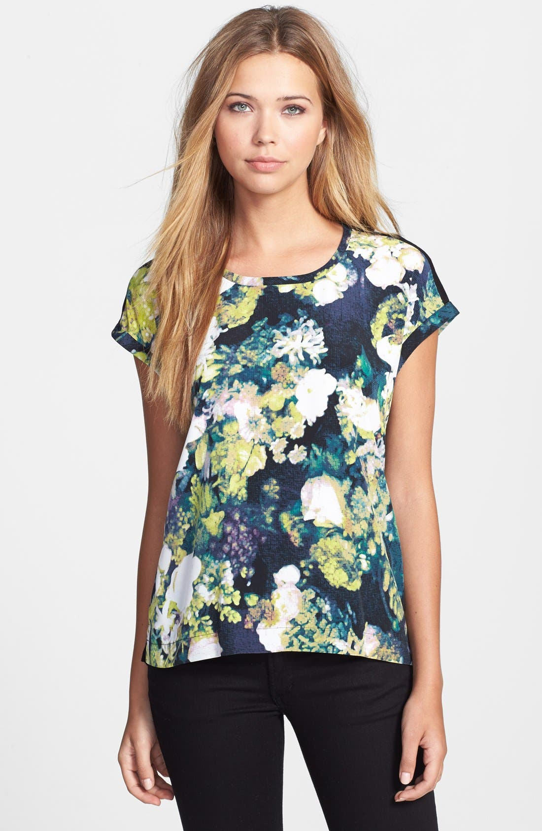 Alternate Image 1 Selected - Adrianna Papell Floral Print Front Tee