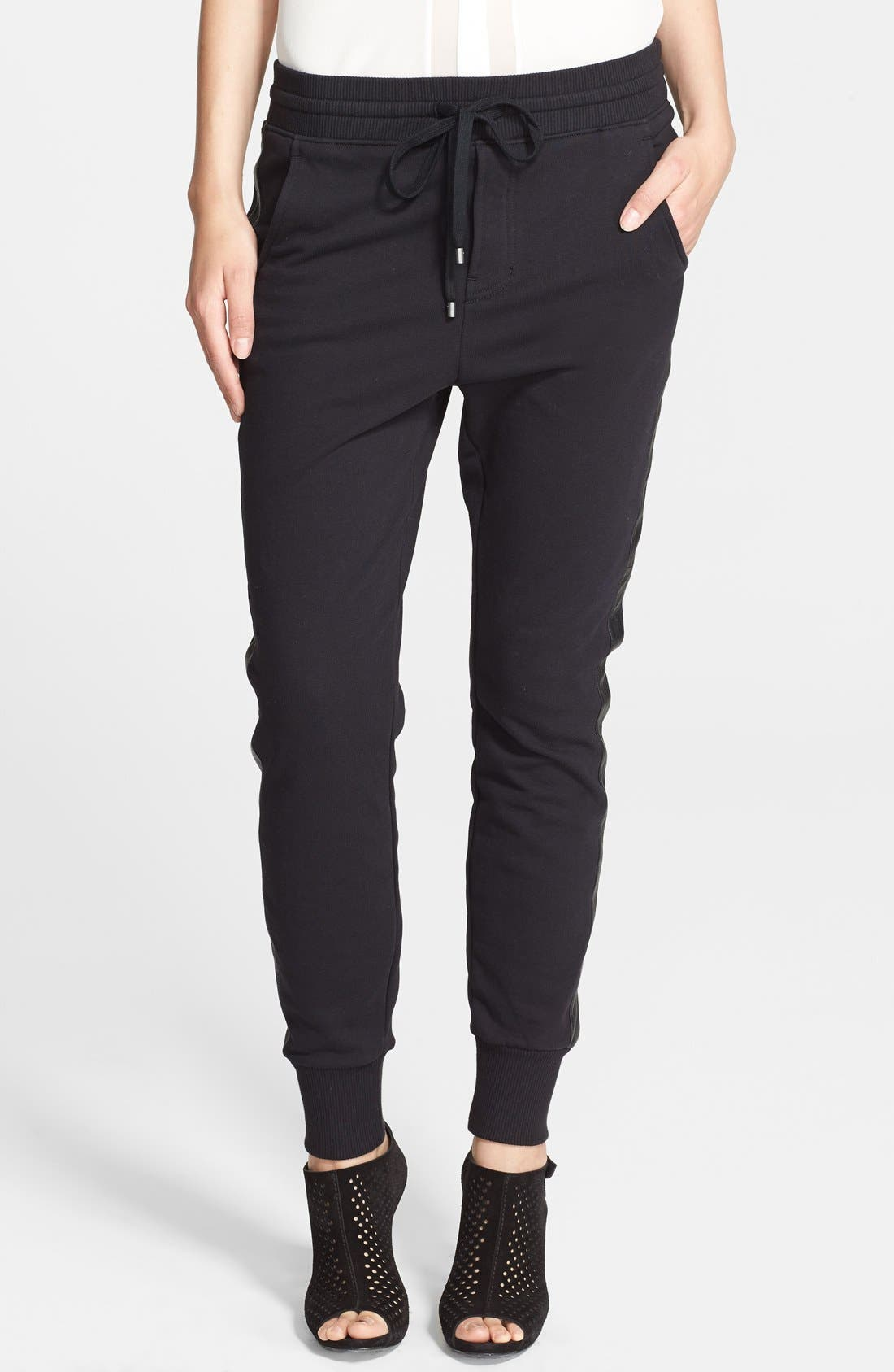 Main Image - Vince Faux Leather Side Strapping Sweatpants
